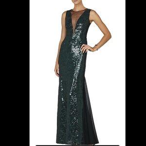 BCBGMAXAZRIA Sleeveless Deep V-Neck Green Gown